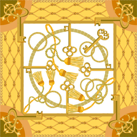 Brosses à rideaux et chaînes dorées sur fond contrasté. Collection de mode pour femmes.