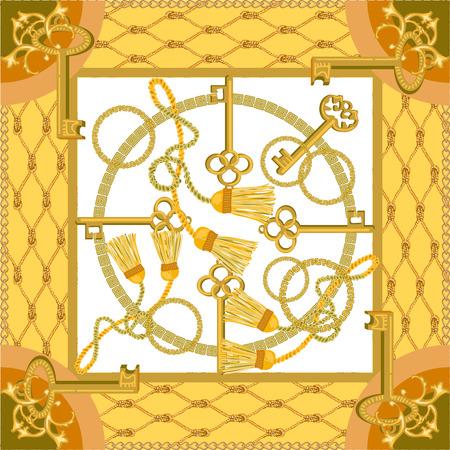 Vorhangbürsten und goldene Ketten auf kontrastierendem Hintergrund. Modekollektion für Damen.