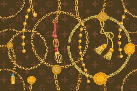 Seamless vector pattern with straps, chains and coins. Vintage textile collection.
