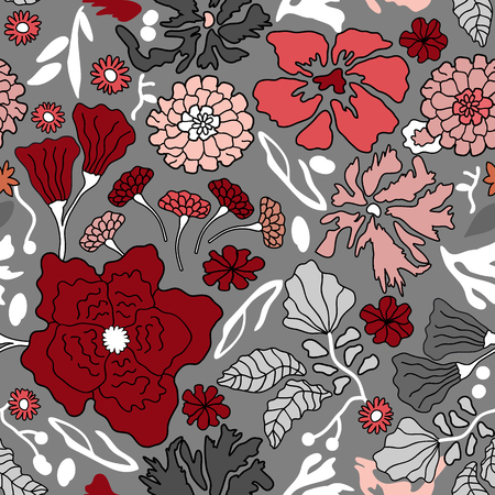 Seamless floral pattern with blooming asters, chrysanthemums and other flowers. Oriental textile collection.