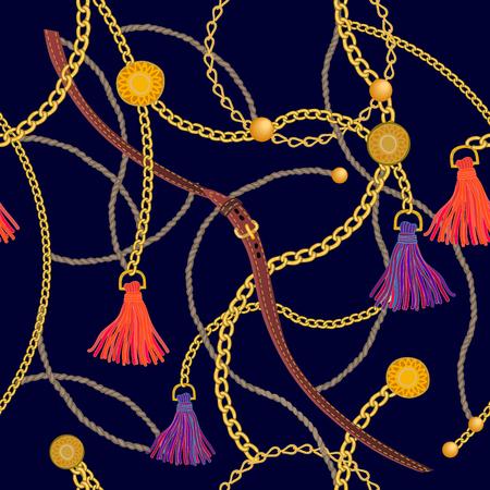 Luksusowy nadruk ze złotymi łańcuszkami, skórzanymi paskami i pędzlami. Kolekcja mody damskiej. Na czarnym tle.