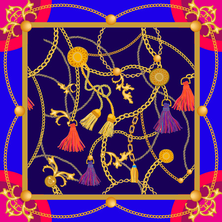 Colorful curtain brushes and golden chains on contrast background. Women's fashon collection.