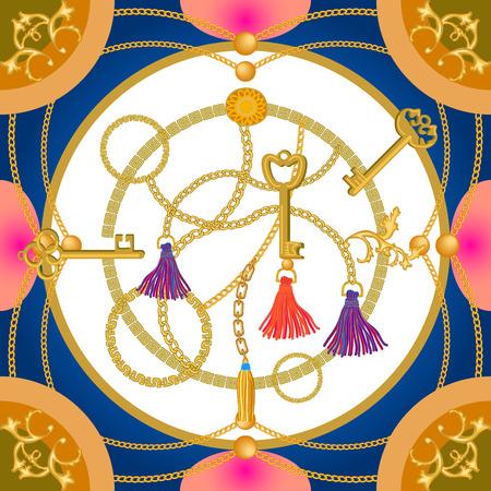 Cepillos de cortina de colores y cadenas de oro sobre fondo de contraste. Colección de moda femenina.