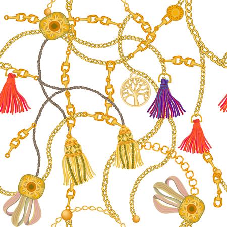Wektor wzór z elementami biżuterii. Kolekcja mody damskiej. Ilustracje wektorowe