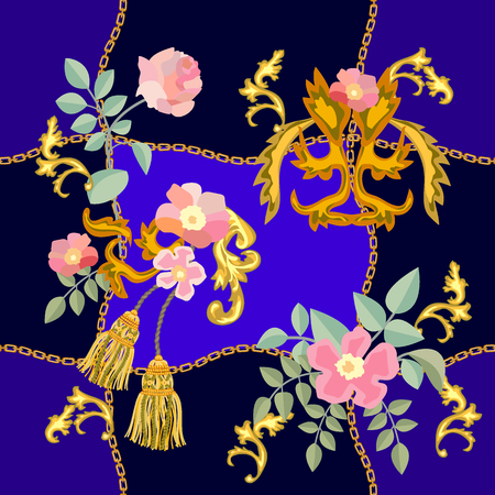 Blooming roses, scrolls and golden chains on contrast background. Women's fashon collection.