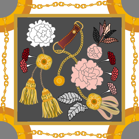 Curtain brushes, golden chains and flowers on contrast background. Women's fashon collection.
