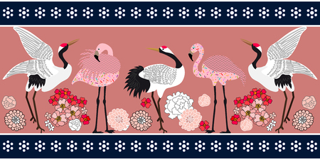Seamless vector pattern with Japanese motifs. Oriental textile collection.