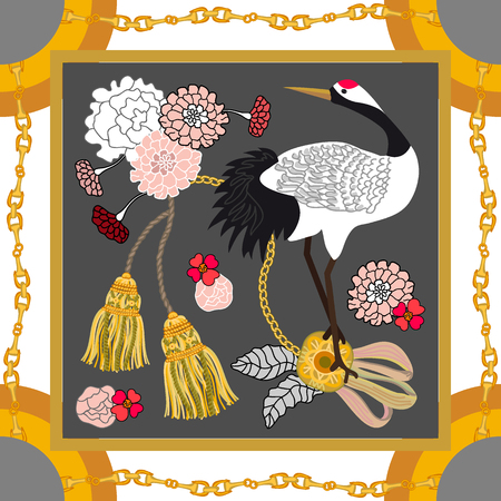Curtain brushes, golden chains and flowers on grey background. Women's fashon collection. Иллюстрация