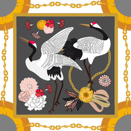 Curtain brushes, golden chains and flowers on grey background. Women's fashon collection. Ilustración de vector