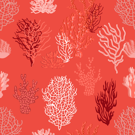 Seamless vector pattern with different shapes. Trendy 2019 color palette.