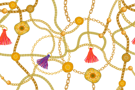 Patrón de vector transparente con elementos de joyería. Colección de moda femenina.