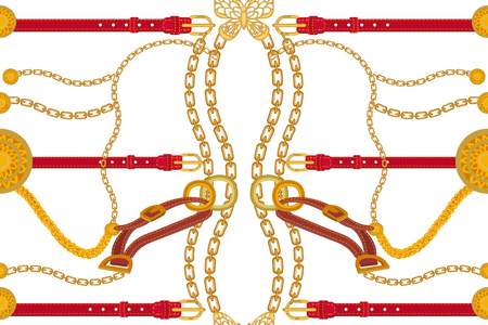 Seamless vector pattern with golden chains, red leather belts and other decorative elements. Women fashion collection.