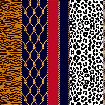 Modèle vectorielle continue avec des éléments de bijoux et différentes textures. Taches de léopard, rayures de zèbre. Vecteurs