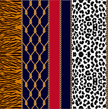 Seamless vector pattern with jewelry elements and different textures. Leopard spots, zebra stripes. Stock Illustratie