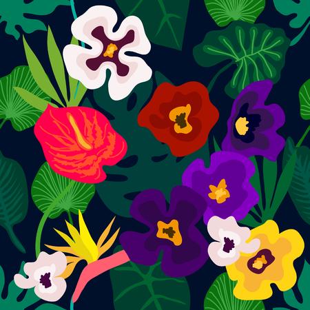 Modèle vectorielle continue avec des orchidées, des feuilles de palmier et d'autres plantes. Collection textile Aloha.