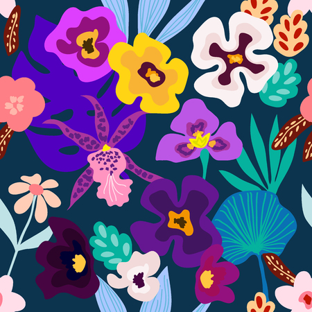 Seamless vector pattern with orchids, palm leaves and other plants. Aloha textile collection.