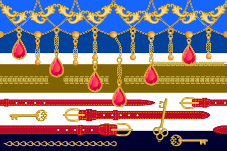 Seamless vector pattern with golden chains, ruby pendants and other decorative elements. Women fashion collection. Vecteurs