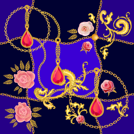 Pendant with rubies and golden chains on dark background. Womens fashon collection.