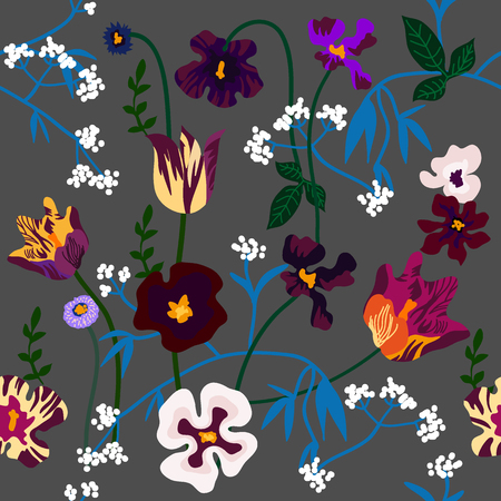 Seamless vector pattern with purple tulips, violas, pansies and wildflowers. Spring textile collection.