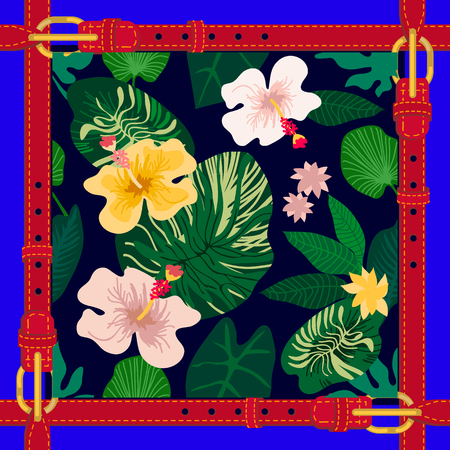 Abstract floral composition with violas and pansies on dark background. Spring textile collection.