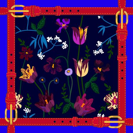 Composizione floreale astratta con viole e viole del pensiero su sfondo scuro. Collezione tessile primaverile.