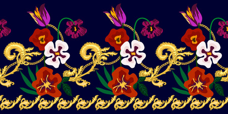 Realistic flowers, golden scrolls, leaves and other decorative elements on contrast background. Vintage design collection. Vettoriali