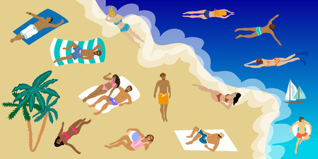 People sunbathing on the beach and swimming in the sea. Holiday design concept. Illustration