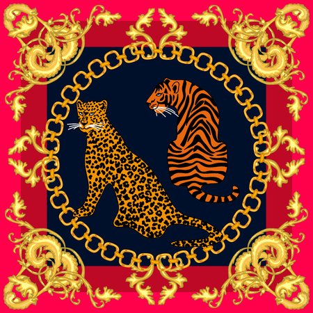 Leopards, tigers and golden chains on contrast background. Women's fashon collection.