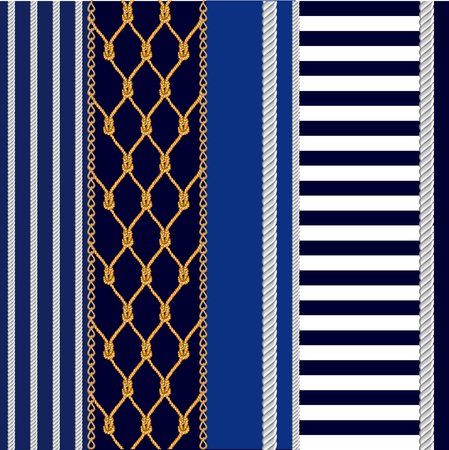 Ropes, net, stripes on blue background. Marine textile collection.