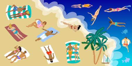 People sunbathing on the beach and swimming in the sea. Holiday design concept.