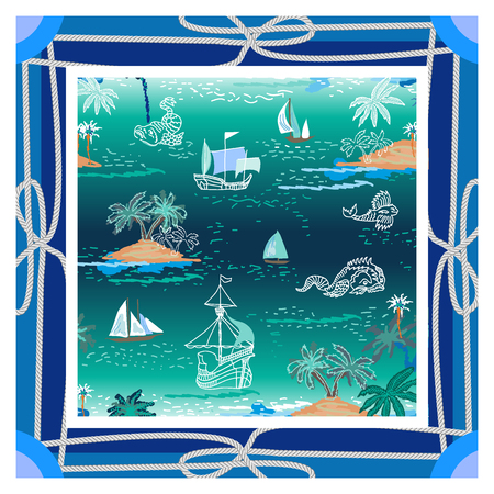 Marine textile collection. Trendy nautical pattern. Illustration