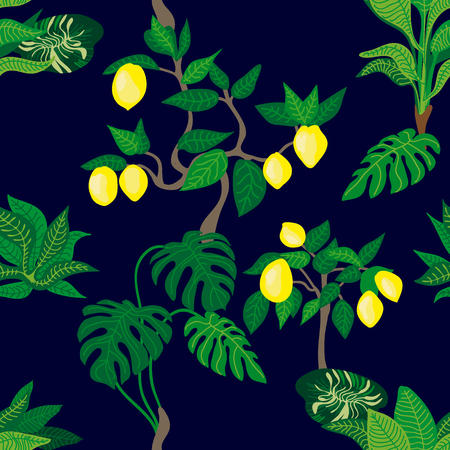 Seamless vector pattern with lemon trees and palms. Tropical textile collection. Illustration