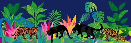 Vector border with tiger, leopard, panthers and tropical plants on dark background. Trendy design for wall decor, cards, books and textile. Иллюстрация