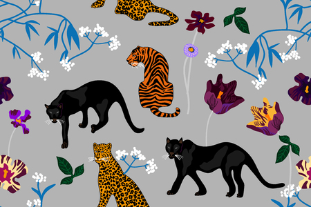 Seamless vector pattern with tigers, leopards, panthers and wildflowers.