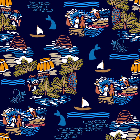 Seamless grunge pattern with islands, boats, sailors and whales. Marine textile collection.