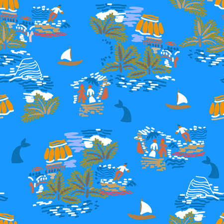 Seamless grunge pattern with islands, boats, sailors and whales. Marine textile collection. 矢量图像