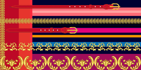 Seamless vector pattern with golden scrolls, leater belts and other decorative elements. Women fashion collection. Vettoriali