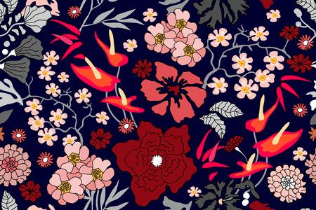 Patrón floral transparente con ramas de arce, bambú, sakura floreciente y otras plantas. Ilustración de vector