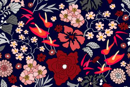 Seamless floral pattern with maple branches, bamboo, blooming sakura and other plants. 벡터 (일러스트)