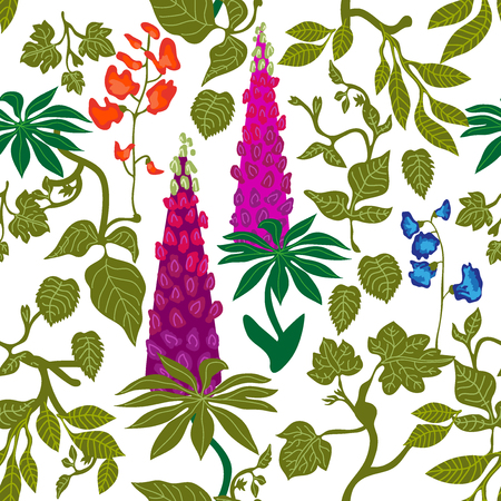 Seamless botanical pattern with lupine, grass and other plants. Retro textile collection.