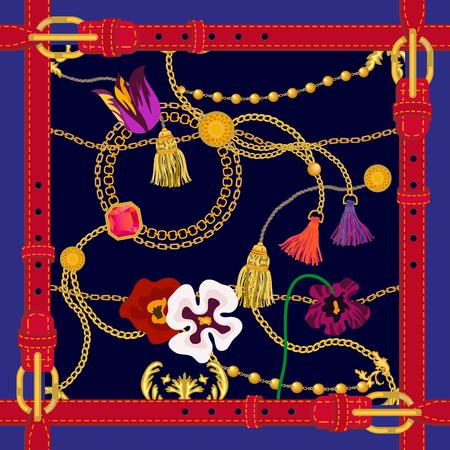 Kariertes Muster mit goldenen Ketten, Ledergürteln und Blumen. Modekollektion für Damen. Golden, schwarz, rot.