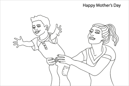 Mom and child playing together. Continuous line drawing. Simple linear design for covers, banners, posters.