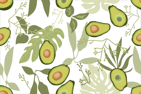 Seamless vector pattern with fruits and flowers on white background. Retro textile collection.