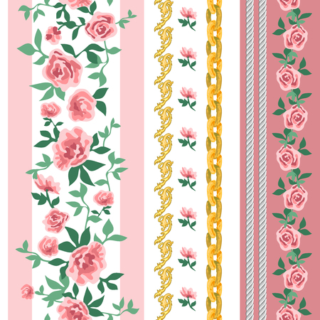 Seamless vector pattern with small pink roses on contrast background. Retro textile collection.