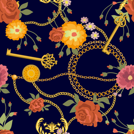 Seamless vector pattern with roses and jewelry elements.