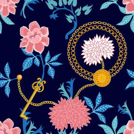 Seamless vector pattern with oriental motifs. Peonies, asters and jewelry elements. Summer textile collection.