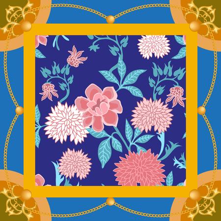 Vintage floral print with Japanese motifs. Oriental textile collection. Ilustración de vector