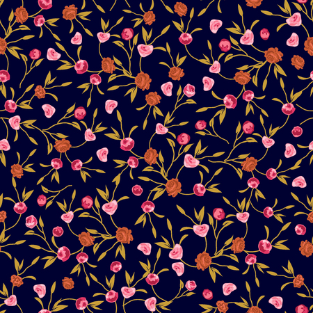 Seamless vector pattern with summer garden flowers on black background. Retro textile collection. Illustration