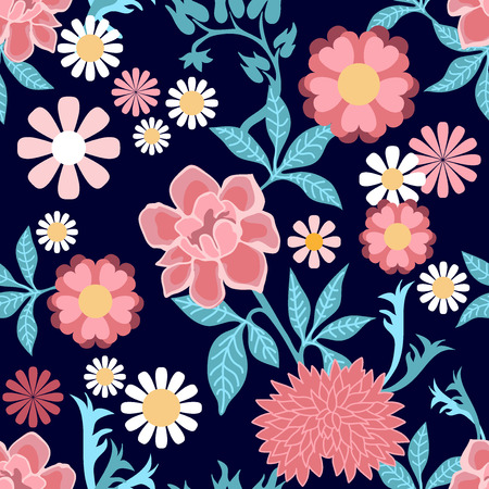 Seamless pattern with wildflowers and chrysanthemums on black background.