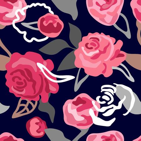 シームレスなヴィンテージ花柄。レトロなテキスタイルコレクション。黒の背景に。